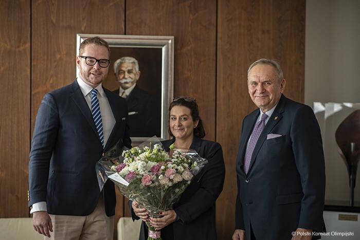 Na zdjęciu od lewej: Książę Jan Lubomirski-Lanckoroński, Hrabianka Helena Mańkowska, Prezes PKOl Andrzej Kraśnicki/Fot.: PKOl - Szymon Sikora